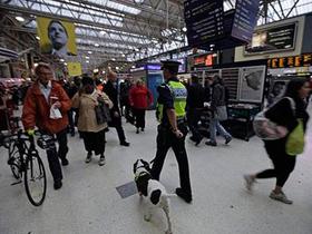 Cảnh sát và quân khuyển Anh tăng cường tuần tra các ga xe điện ngầm ở London hôm 4-10. Ảnh: AP
