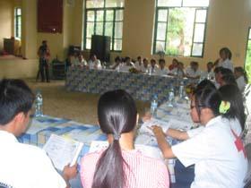 Hội viên CTĐ nhà trường chia sẻ kinh nghiệm vận động quyên góp.