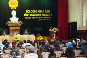Các đại biểu biểu quyết thông qua các Nghị quyết