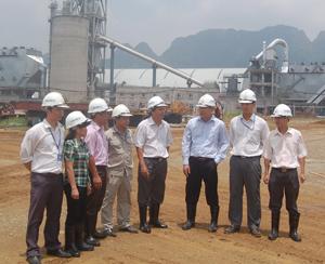 Đ/C Trần Đăng Ninh, Phó Chủ tịch UBND tỉnh kiểm tra tình hình SX-KD của Công ty TNHH Xuân Mại (Lương Sơn). Ảnh ĐP.