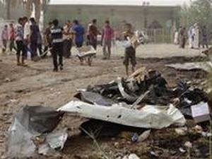 Hiện trường vụ đánh bom trước khi xảy ra bắt cóc. (Nguồn: AP)