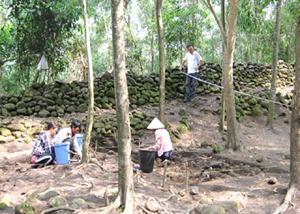 Các nhà khảo cổ khai quật, nghiên cứu Trường Lũy đá tại xã Hành Dũng, huyện Nghĩa Hành, Quảng Ngãi. Ảnh: Trí Tín