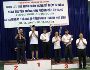 Lãnh đạo Văn phòng Tỉnh uỷ trao giải nhất, nhì, ba bộ môn quần vợt.
