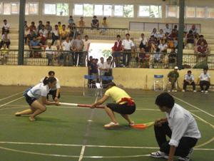 Trận đấu hạng cân 66 kg nữ giữa VĐV Ánh (Hòa Bình) và Ngân (Sơn La). VĐV Ánh đã thắng với tỷ số 2 – 0.