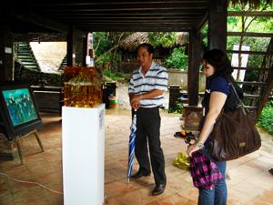 Khách thăm quan các tác phẩm nghệ thuật được sáng tác và trưng bày tại Bảo tàng không gian văn hóa Mường.