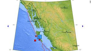Tâm chấn (ô vuông xanh)  nằm ngoài khơi bờ biển tây Canada.