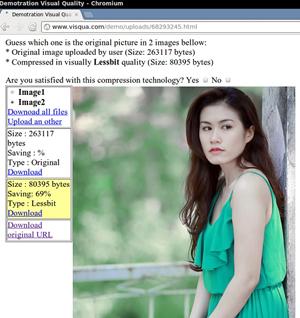 Phần mềm Visqua thực hiện việc nén ảnh trên trang demo  www.visqua.com/demo
