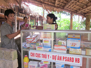 Điểm cung cấp dịch vụ thú y xã Tân Pheo (Đà Bắc) hỗ trợ hộ chăn nuôi trong phòng, chống dịch bệnh gia súc, gia cầm.