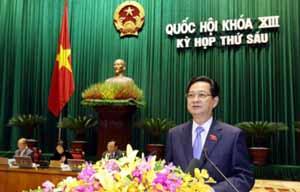 Thủ tướng Chính phủ báo cáo tình hình kinh tế - xã hội năm 2013 tại phiên khai mạc Kỳ họp thứ 6 Quốc hội khóa XIII. Ảnh: website Quốc hội