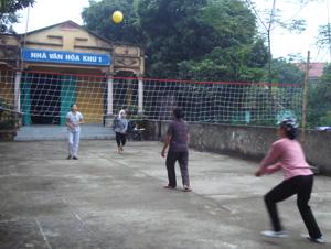 Nhân dân khu 1, thị trấn Kỳ Sơn (Kỳ Sơn) luyện tập bóng chuyền tại sân nhà văn hóa.