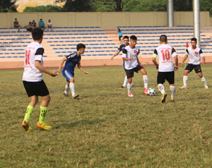 Trận đấu giữa trường THPT Tân Lạc và THPT chuyên Hoàng Văn Thụ kết quả hoà 3 đều.