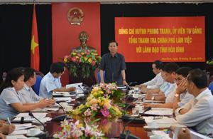 Đồng chí Huỳnh Phong Tranh, UVT.Ư Đảng, Tổng Thanh tra Chính phủ phát biểu kết luận buổi làm việc.