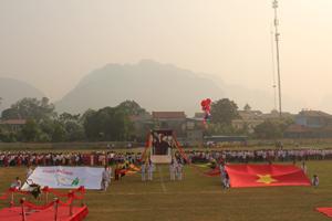 Toàn cảnh lễ khai mạc hội khỏe Phù Đổng huyện Kim Bôi lần thứ VI - năm 2014.
