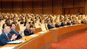 Tại lễ khai mạc Kỳ họp thứ tám, Quốc hội khóa XIII.  Ảnh: NGUYỄN ÐÌNH NAM