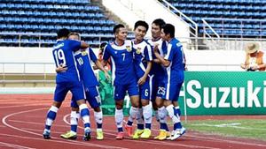 Các cầu thủ ĐT bóng đá quốc gia Lào trong một trận đấu vòng loại AFF Cup 2014. (ảnh minh họa)