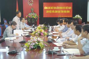 Chủ tịch Liên minh HTX Việt Nam Đào Xuân Cần làm việc với lãnh đạo tỉnh