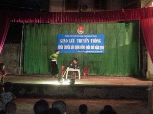 Tiết mục tiểu phẩm truyền thông trong giao lưu của ĐVTN tại xã Xăm Khòe