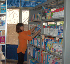 Cán bộ thư viện tỉnh kiểm tra, sắp xếp lại các kệ sách tiện cho việc tra cứu.