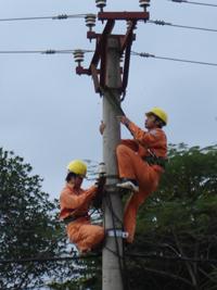 Công nhân Chi nhánh điện Mai Châu tuân thủ nghiêm các quy định ve ATLĐ khi làm việc