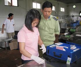Cán bộ đoàn kiểm tra liên ngành thử test nhanh nguyên liệu dùng trong sản xuất măng tại Công ty Cổ phần nông - lâm sản Kim Bôi (Thanh Nông, Lạc Thuỷ)