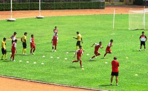 U23 tích cực tập luyện chuẩn bị cho trận gặp U23 Lào.