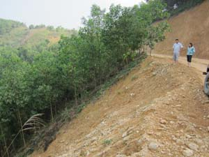 Đồi rừng của gia đình ông Dương Mạnh Cường, tổ 1, xã Trung Minh (TPHB) bị vùi lấp do thi công đường Dân Hạ - Độc Lập.