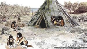 Hình ảnh mô phỏng nhà của người cổ tại Scotland.