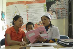 Cán bộ Trung tâm YTDP huyện Tân Lạc tuyên truyền cách phòng bệnh cho phụ nữ có thai.