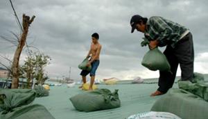 Lực lượng dân quân giúp dân dùng bao cát chẳng chống nhà cửa ở Đà Nẵng.