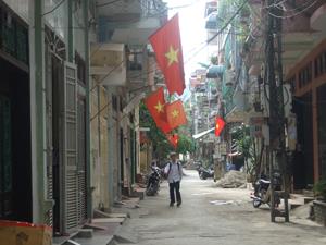 KDC dọc tuyến đường Trần Quang Khải, phường Phương Lâm (TP. HB) treo cờ chào mừng Ngày hội.