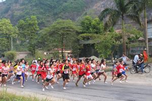 Các VĐV nữ trẻ và nữ chính tranh tài tại giải việt dã truyền thống huyện Lương Sơn năm 2014.