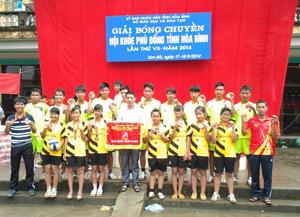 Đoàn VĐV môn bóng chuyền nam, nữ trường THPT Bắc Sơn (Kim Bôi) với niềm vui nhất toàn đoàn môn bóng chuyền HKPĐ tỉnh lần thứ VII,  năm 2014.