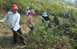 Huyện Mai Châu xây dựng được 24,5 km đường băng trắng cản lửa các xã phía Tây Nam của huyện. Ảnh: Nhân dân xã Cun Pheo (Mai Châu) duy tu hệ thống đường băng cản lửa giáp ranh với xã Xuân Nha (Mộc Châu, Sơn La).
