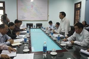 Đồng chí Hoàng Đình  Cảnh, Phó Cục trưởng Cục phòng - chống HIV/AIDS phát biểu tại buổi làm việc.