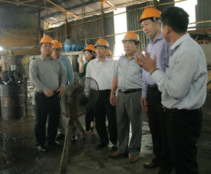 Đồng chí Bùi Văn Cửu, Phó Chủ tịch TT UBND tỉnh khảo sát thực tế tại xưởng sản xuất của Công ty TNHH MTV Hapaco Đông Bắc.
