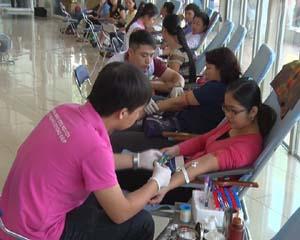 Các tình nguyện viên thực hiện hiến máu.