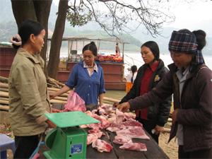 Nội dung quan trọng trong kế hoạch hành động Năm VSATTP lĩnh vực nông nghiệp 2015 là kiểm soát chất lượng VSATTP đối với các sản phẩm thịt gia súc, gia cầm (ảnh: người dân xã Vầy Nưa (Đà Bắc) mua bán thịt gia súc có nguồn gốc bản địa, đảm bảo VSATTP)