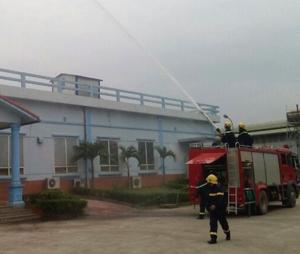 CB, CS phòng Cảnh sát Phòng cháy, chữa cháy và Cứu nạn, cứu hộ thực tập phương án chữa cháy tại Công ty TNHH Transon Việt Nam (thuộc KCN Lương Sơn).