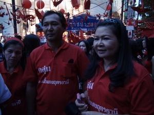 """Những người biểu tình """"áo đỏ"""" xuống đuờng biểu tình tại giao lộ Ratchaprasong, trung tâm thủ đô Bangkok ngày 19/12."""
