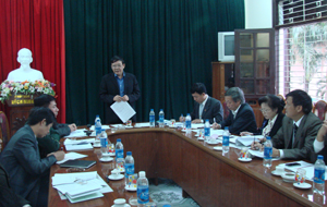 Đồng chí Bùi Ngọc Lâm, Giám đốc Sở VH-TT&DL tỉnh, Trưởng ban chỉ đạo Đại hội phát biểu tại cuộc họp BCĐ.