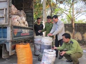 Phương tiện vận chuyển và toàn bộ lô mỡ, tóp mỡ động vật vi phạm được lực lượng CSMT tạm giữ chờ xử lý.