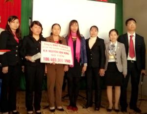 Công ty BHNT Prudential chi trả cho gia đình anh Nguyễn Văn Hưng số tiền trên 106 triệu đồng.
