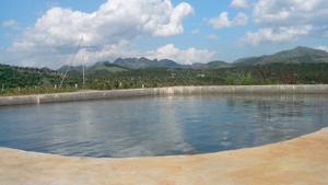 Bê tông mỏng nhà ông Đinh Trọng Toàn, Đội Thu Phong, thị trấn Cao Phong chứa 300 m3 nước.
