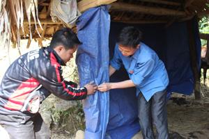 Cán bộ thú y xã Mường Chiềng (Đà Bắc) giám sát và hướng dẫn hộ chăn nuôi xóm Nà Mặn thực hiện biện pháp phòng, chống rét cho gia súc.