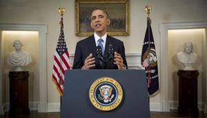 Tổng thống Mỹ Barack Obama công bố sự chuyển hướng trong quan hệ với Cuba trong một bài phát biểu trước toàn quốc tại Nhà Trắng, ngày 17-12-014. (Ảnh: Reuters)