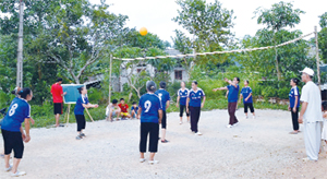 Để rèn luyện sức khỏe, hàng ngày, hội viên NCT xóm Nút, xã Dân Hạ (Kỳ Sơn) thường xuyên chơi bóng chuyền hơi.