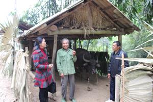 Đoàn giám sát nắm bắt thực tế công tác thực hiện các biện pháp kỹ thuật phòng – chống dịch bệnh, đói rét cho gia súc, gia cầm tại hộ chăn nuôi xã Mai Hạ.