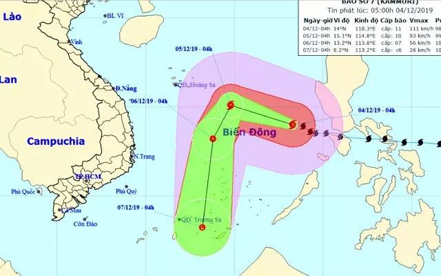 Bão giật cấp 14 cách đảo Song Tử Tây khoảng 540 km
