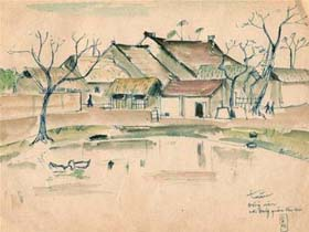 Làng Đổng Viên - ký họa của L.Đ.Tuấn về nơi đóng quân đầu tiên