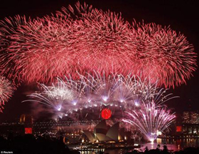 Sydney, Australia là thành phố đầu tiên đón năm mới.